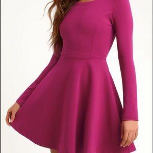 Forever Chic Magenta Long Sleeve Dress